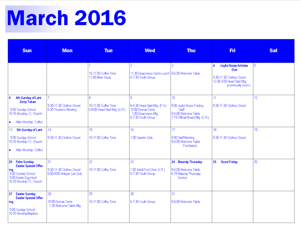 March 2016