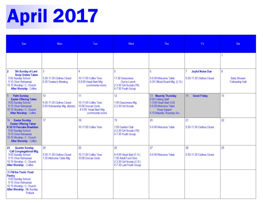 April 2017 | Highland Park Christian Church
